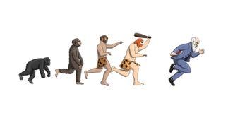 Karikaturevolutionstheorie, Weiterentwicklung der Mannmenschheit lizenzfreie abbildung