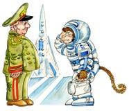 Karikaturfallhammerastronaut Stockfoto