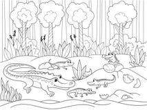 Karikaturfamilie der Kinder von Krokodilen in Afrika Bunte grafische Abbildung Schwarze Linien, weißer Hintergrund Lizenzfreies Stockbild