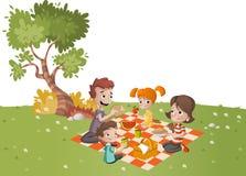 Karikaturfamilie, die Picknick im Park an einem sonnigen Tag hat vektor abbildung