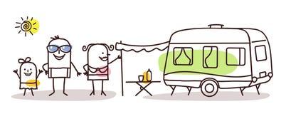 Karikaturfamilie mit einem Wohnwagen stock abbildung