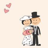 Karikaturfamilie mit neugeborenem Stockbild