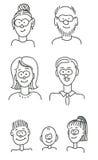 Karikaturfamilienportrait Lizenzfreie Stockfotografie