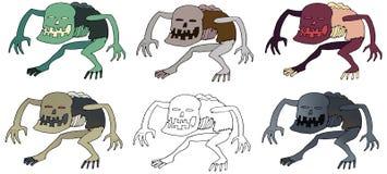 Karikaturfarbfurchtsame Hand des lustigen Ghuldruckgekritzel-Monsters gezeichnet lizenzfreie abbildung