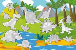 Karikaturfarbtonspiel mit Dinosauriern Lizenzfreie Stockbilder