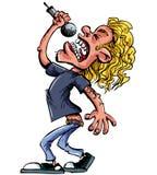 Karikaturfelsensänger mit Mikrofon Stockfotografie