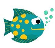 Karikaturfische mit Blasen Fische auf einem weißen Hintergrund Auch im corel abgehobenen Betrag Stockbilder