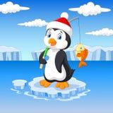 Karikaturfischenpinguin, der auf Eisscholle steht Lizenzfreie Stockfotos