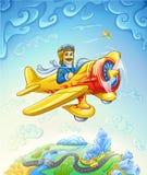 Karikaturflugzeug mit Versuchsflugwesen über der Erde Stockfotografie