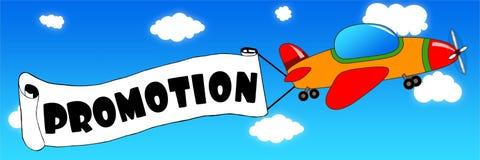 Karikaturflugzeug und -fahne mit FÖRDERUNG simsen auf einem blauen Himmel b stock abbildung