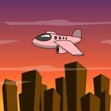Karikaturflugzeugfliege über der Stadt Lizenzfreies Stockbild