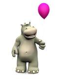 Karikaturflusspferd, das einen Ballon hält Stockbild
