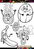 Karikaturfrüchte eingestellt für Malbuch Stockbild