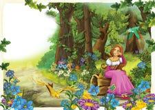 Karikaturfrau, die in einem schönen bunten Wald sitzt lizenzfreie abbildung