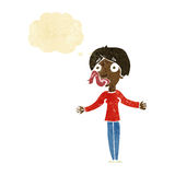 Karikaturfrau, die mit Gedankenblase erzählt Stockfoto