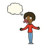 Karikaturfrau, die mit Gedankenblase erzählt Lizenzfreie Stockbilder