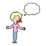 Karikaturfrau, die mit Gedankenblase erzählt Lizenzfreies Stockbild