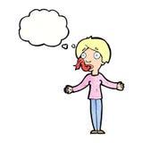 Karikaturfrau, die mit Gedankenblase erzählt Stockbild