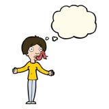 Karikaturfrau, die mit Gedankenblase erzählt Stockbilder
