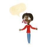 Karikaturfrau, die mit Spracheblase erzählt Lizenzfreies Stockbild