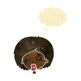 Karikaturfrau mit Augen schloss mit Gedankenblase Stockbild