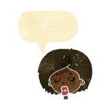 Karikaturfrau mit Augen schloss mit Spracheblase Lizenzfreie Stockfotos
