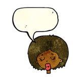 Karikaturfrau mit Augen schloss mit Spracheblase Lizenzfreies Stockfoto