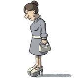 Karikaturfrauen traurig und deprimiert Lizenzfreie Stockfotografie