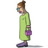 Karikaturfrauen traurig und deprimiert Lizenzfreie Stockbilder