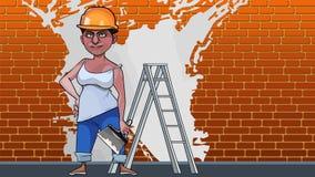 Karikaturfrauengipser auf einem Backsteinmauerhintergrund mit weißer Farbe lizenzfreie abbildung