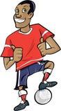 Karikaturfußballspieler mit den Daumen oben Stockfoto