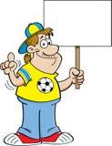 Karikaturfußballfan, der ein Zeichen hält Stockfotografie