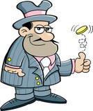 Karikaturgangster, der eine Münze leicht schlägt. Stockfotos