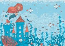 Karikaturgekritzelillustration einer Meerjungfrau in den Korallen Stockfotografie