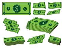 Karikaturgeldsatz, Dollarbanknote, Papierrechnung Vektorabbildung getrennt auf weißem Hintergrund Lizenzfreie Stockfotos