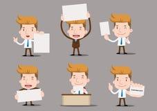 Karikaturgeschäftscharaktere - leeres Papier Lizenzfreie Stockfotos
