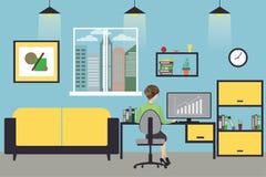 KarikaturGeschäftsfrau, die zu Hause oder modernes arbeiten, Büro, vektor abbildung