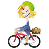 KarikaturGeschäftsfrau-Reitfahrradaustauschen Lizenzfreie Stockbilder