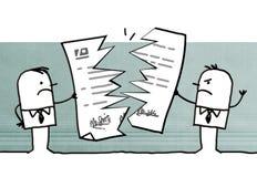 Karikaturgeschäftsmänner, die einen Vertrag brechen vektor abbildung