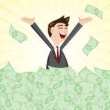 Karikaturgeschäftsmann auf Stapel des Geldbargeldes Stockbild