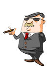 Karikaturgeschäftsmann, der eine Zigarre raucht Stockbild