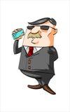 Karikaturgeschäftsmann, der am Telefon spricht Lizenzfreie Stockbilder