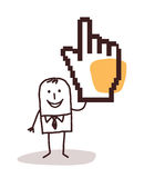 Karikaturgeschäftsmann mit einer pixelated Hand lizenzfreie abbildung