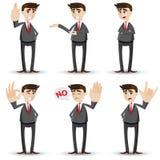 Karikaturgeschäftsmann mit Handzeichen Lizenzfreie Stockbilder
