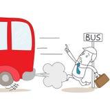 Karikaturgeschäftsmann zu spät an der Bushaltestelle Stockfotos