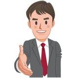 Karikaturgeschäftsmannhändedruck Stockfoto
