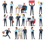Karikaturgeschäftspersonen Geschäftsmannberufsfrau in den verschiedenen Büroarbeitssituationen Vektorcharaktere eingestellt stock abbildung