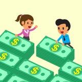 Karikaturgeschäftsteam mit Geldstapeln Stockfoto