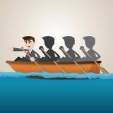 Karikaturgeschäfts-Teamrudersport auf Meer Lizenzfreie Stockfotografie