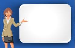 KarikaturGeschäftsfrau und weiße Anschlagtafel Stockfotografie